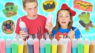 Brother vs Sister Superhero Pancake Art Challenge | Kids Cooking and Crafts