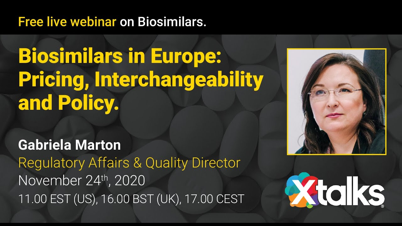 Biosimilars in Europe: Pricing, Interchangeability and Policy.  Gabriela Marton, Arriello`s Regulatory and Quality Director discusses the current landscape and outlook for the European biosimilars market. As also shared at this year's 2020 RAPS #EuroConvergence conference, this highly regarded insight is now available on demand from Gabriela's recent Xtalks webinar here: https://lnkd.in/de8m_df  Topics covered include patent and market exclusivity status, interchangeability within the current EU framework and the positive changes and challenges of biosimilars with EU policy.   More information about Arriello's extensive Regulatory Affairs services at https://lnkd.in/eWwUWNu  For all inquiries contact sales@arriello.com  #biosimilars #regulatoryaffairs #lifesciences #pharma  #webinar #eu #marketaccess