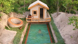 60 Day Of  They're Lived Build Water Well,Underground Swimming Pool And Underground House Using Wood