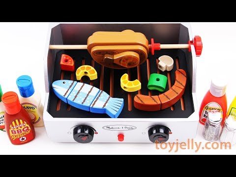 How to Play Velcro Cutting BBQ Toys with Barbecue Grill Food Toy Appliance Fun for Kids