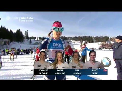Damen 4x6 km Staffel Biathlon-WM Oslo 2016/ HD