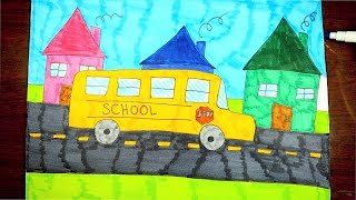 HOW TO DRAW A SCHOOL BUS ~ KIDS