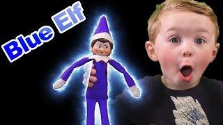 Elf on the Shelf Blue Elf! Blue Christmas Elf Dances Gymnastics Rides Ghostbuster Vehicle Blue Elf