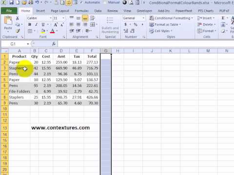 Create Alternating Shaded Rows on Excel Sheet