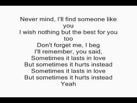 Adele - Someone Like You (ON SCREEN LYRICS) - YouTube ...