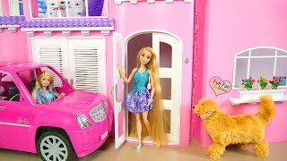 Barbie Rapunzel Pink Dream House Morning Rumah boneka Barbie rosa Puppenhaus