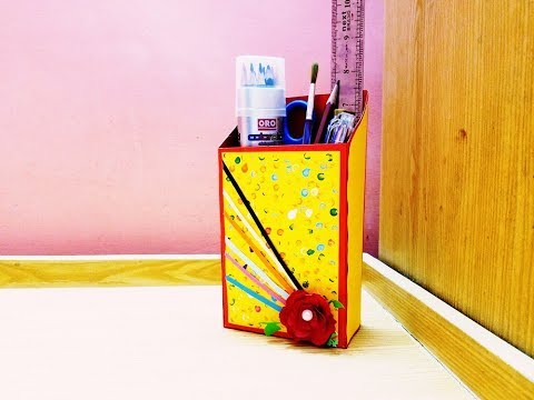 DIY paper pen holder table organizer with craft paper✏🖍