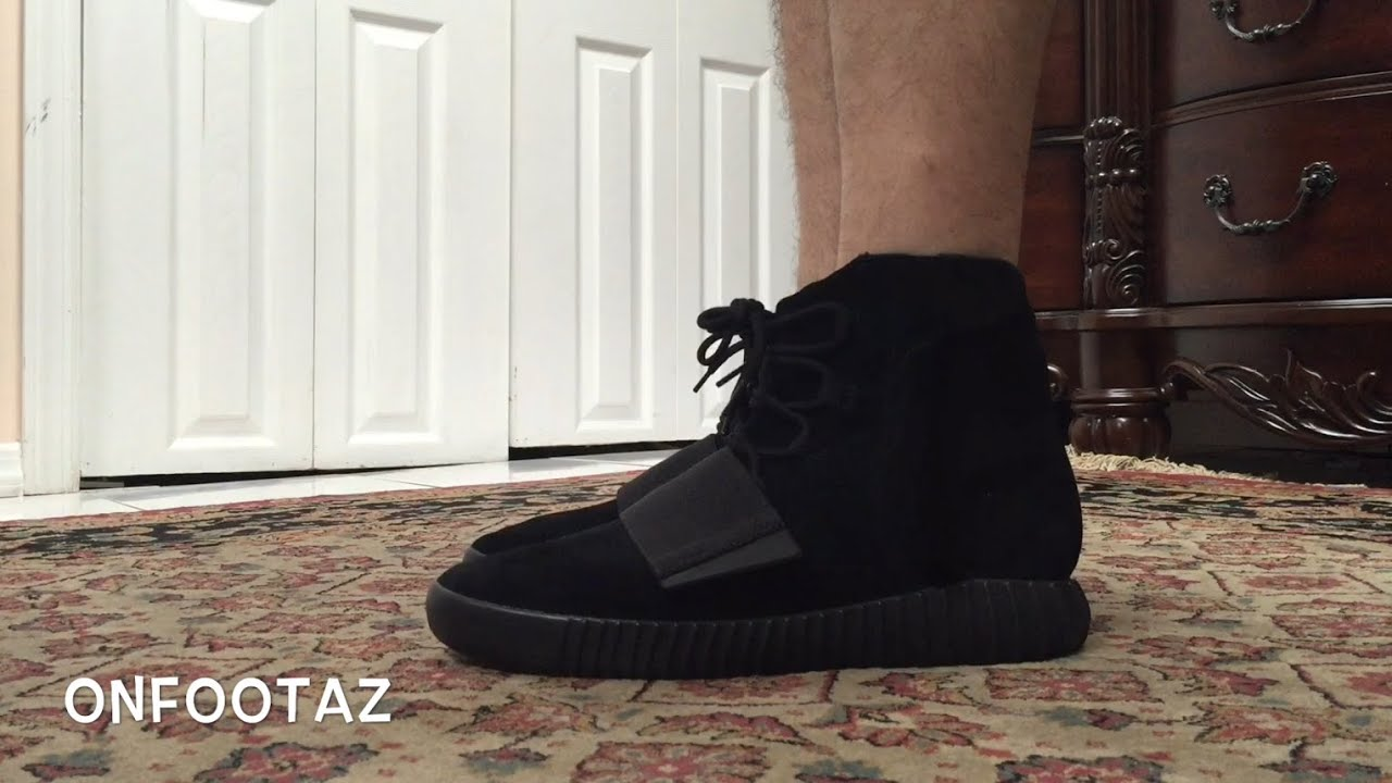 df141c148fd Adidas Yeezy 750 Boost Black On Foot - YouTube