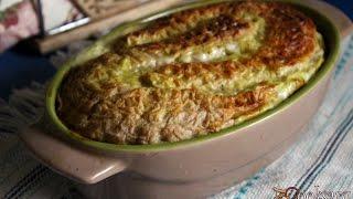 Заливной пирог из вафельных коржей с мясным фаршем