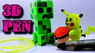 Dibujando en el aire un Creeper de Minecraft y Pikachu | Lápiz 3D | ArteMaster