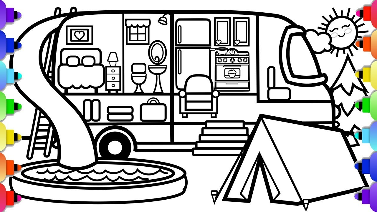 How to Draw a Camper RV Easy and Simple and a Camp Scene🚐💙💚💜💛💗