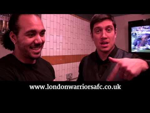 Vernon chats to London Warriors QB and team mate Jerome Allen