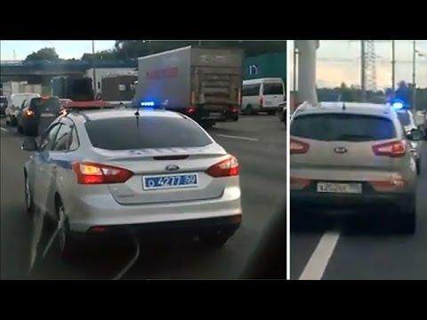 видео: ДПС сопровождает в пробке кроссовер - едут приятели инспекторов!