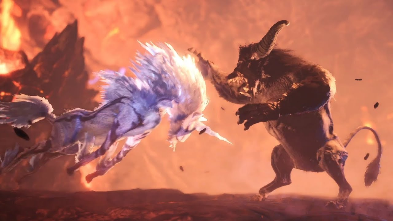 Monster Hunter World: Iceborne - Rajang vs Kirin Ecology Intro Cutscene thumbnail