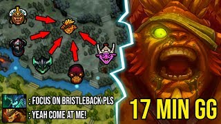 HOW TO BACK DOOR 9K BRISTLEBACK - 17Min GG Unkillable Even 5 Men Gank Can't Control Him DotA 2