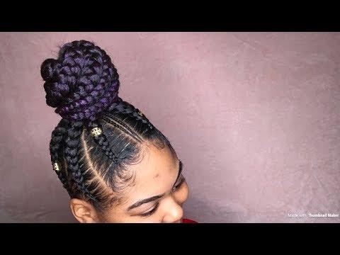 PURPLE FEED IN PONYTAIL | jumbo feed in braids