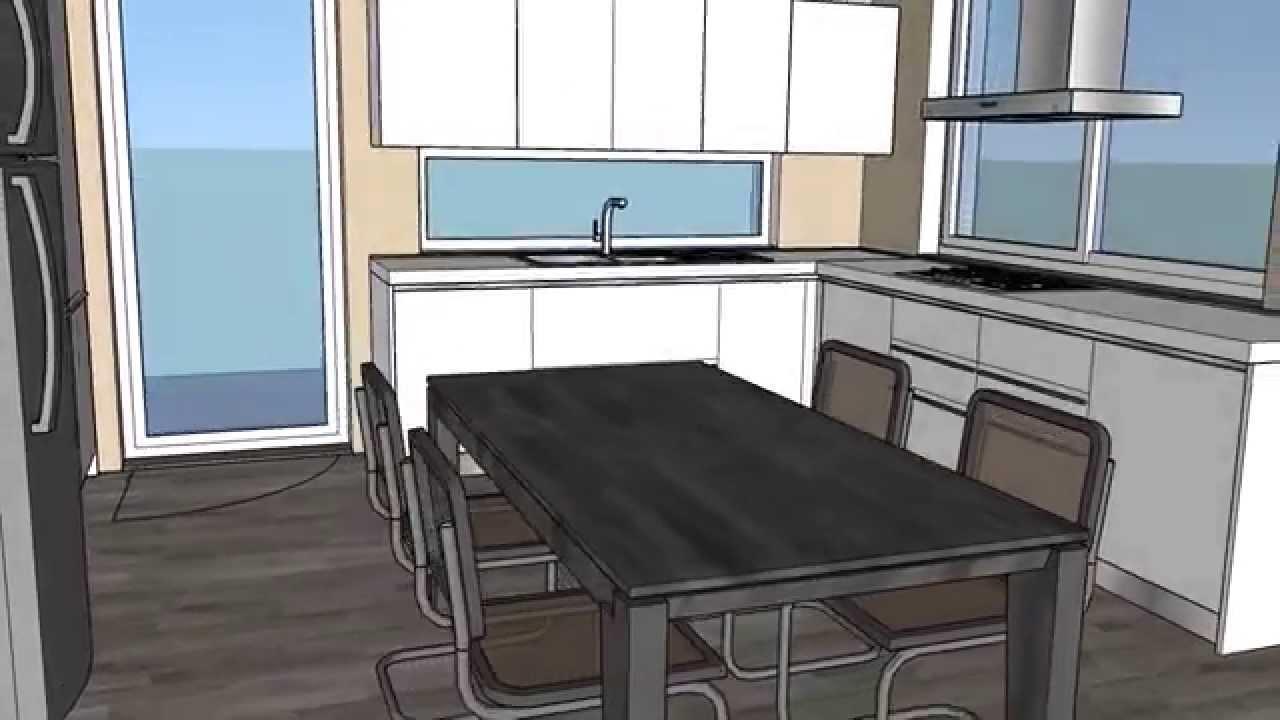 Progetto cucina soggiorno - YouTube