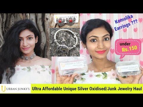 best-jewelry-haul-under-₹150-|-urban-junky's-silver-oxidised-jewellery-|-choker,-earrings,-bracelet