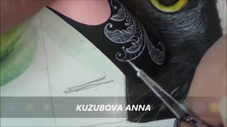 Рисуем вензеля на ногтях/вензеля на ногтях акриловой краской/роспись вензелями.