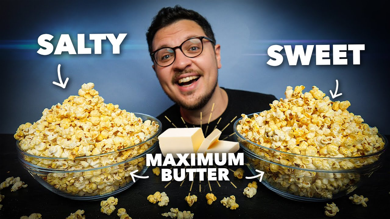 the butteriest popcorn movie theater style but using real butter