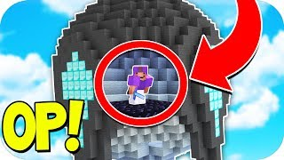 OVERPOWERED UNBREAKABLE SKYBASE! (Minecraft BED WARS TROLLING)