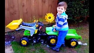 Little Boy Cleaning the Truck Kids Fun