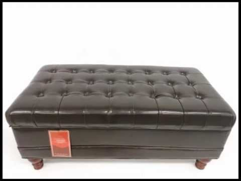 Delightful Coaster Storage Ottoman With Tufted Accents In Dark Brown Leather Like    YouTube