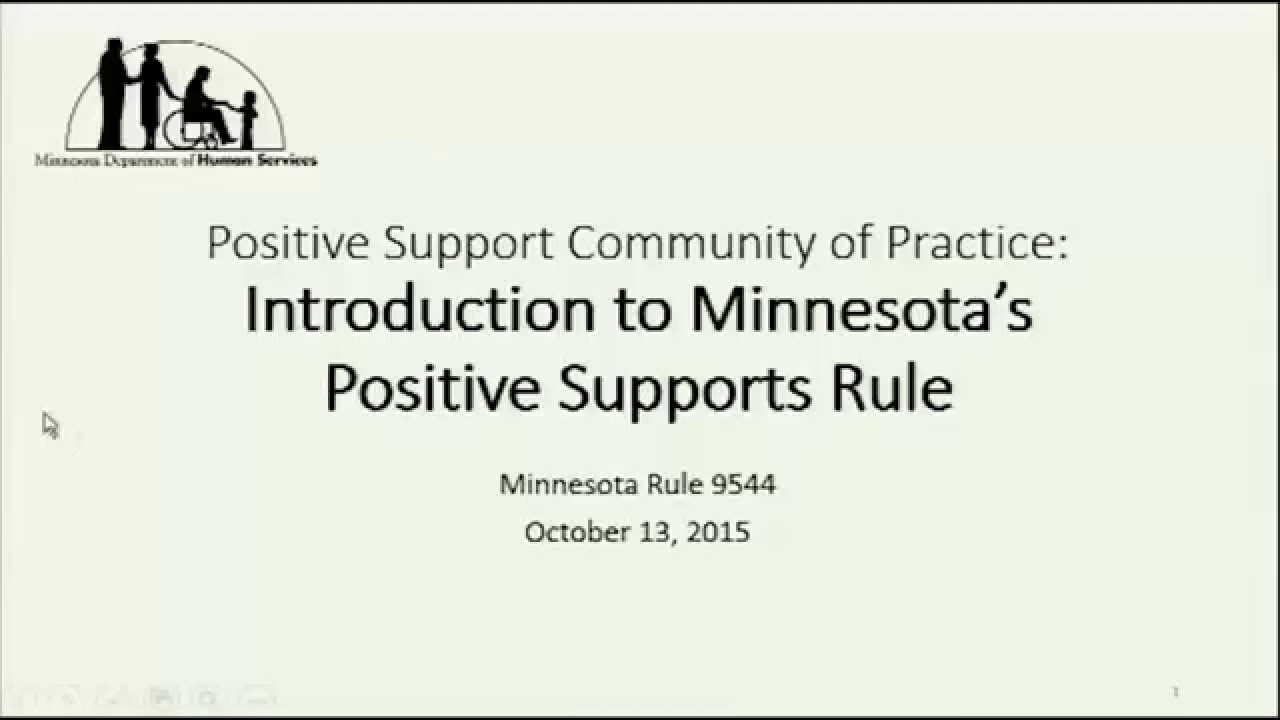 Intro To Minnesotas Positive Support Rule Mn Rule 9544 Part 1