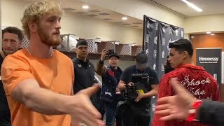 DOPE! LOGAN PAUL WISHES RYAN GARCIA GOOD LUCK SECONDS BEFORE FIGHT IN LOCKER ROOM