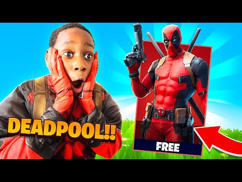 Surprising My Little Brother With Unlocked Deadpool Skin (fortnite)