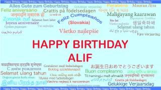 Alif   Languages Idiomas - Happy Birthday