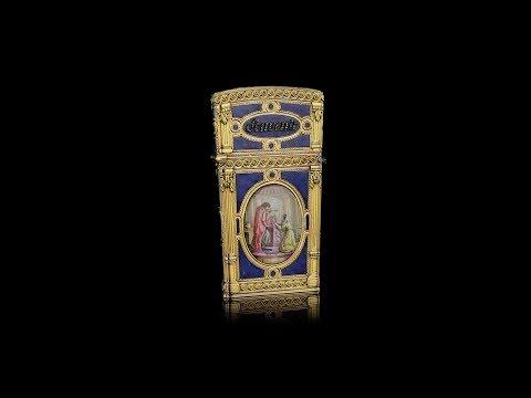 ANTIQUE 18thC FRENCH ENAMELLED 18k GOLD & JEWEL-SET CARNET-DE-BAL c.1770