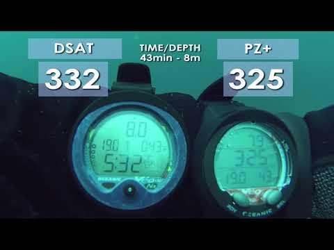 Scuba diving algorithms DSAT vs PZ+ Which is better. Oceanic Veo computer comparison over 2 dives