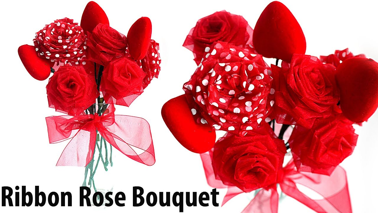Diy Ribbon Rosesflower Bouquet Youtube
