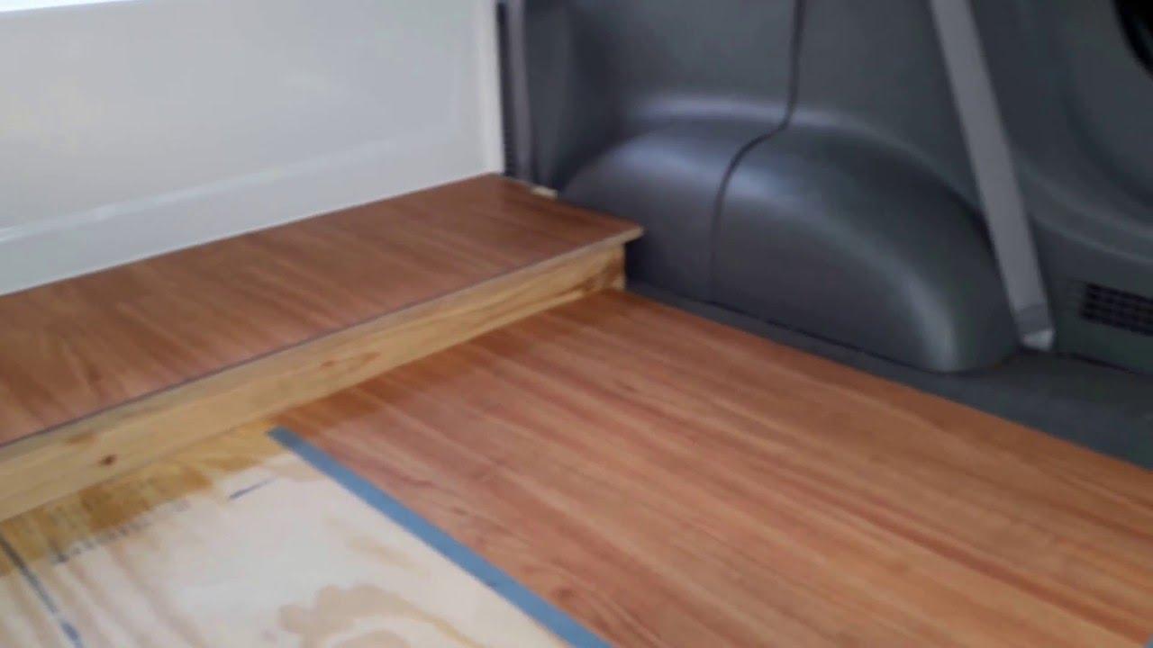 Gary\'s Camper Van Full Bathtub/ Vinyl Floor Installation - YouTube