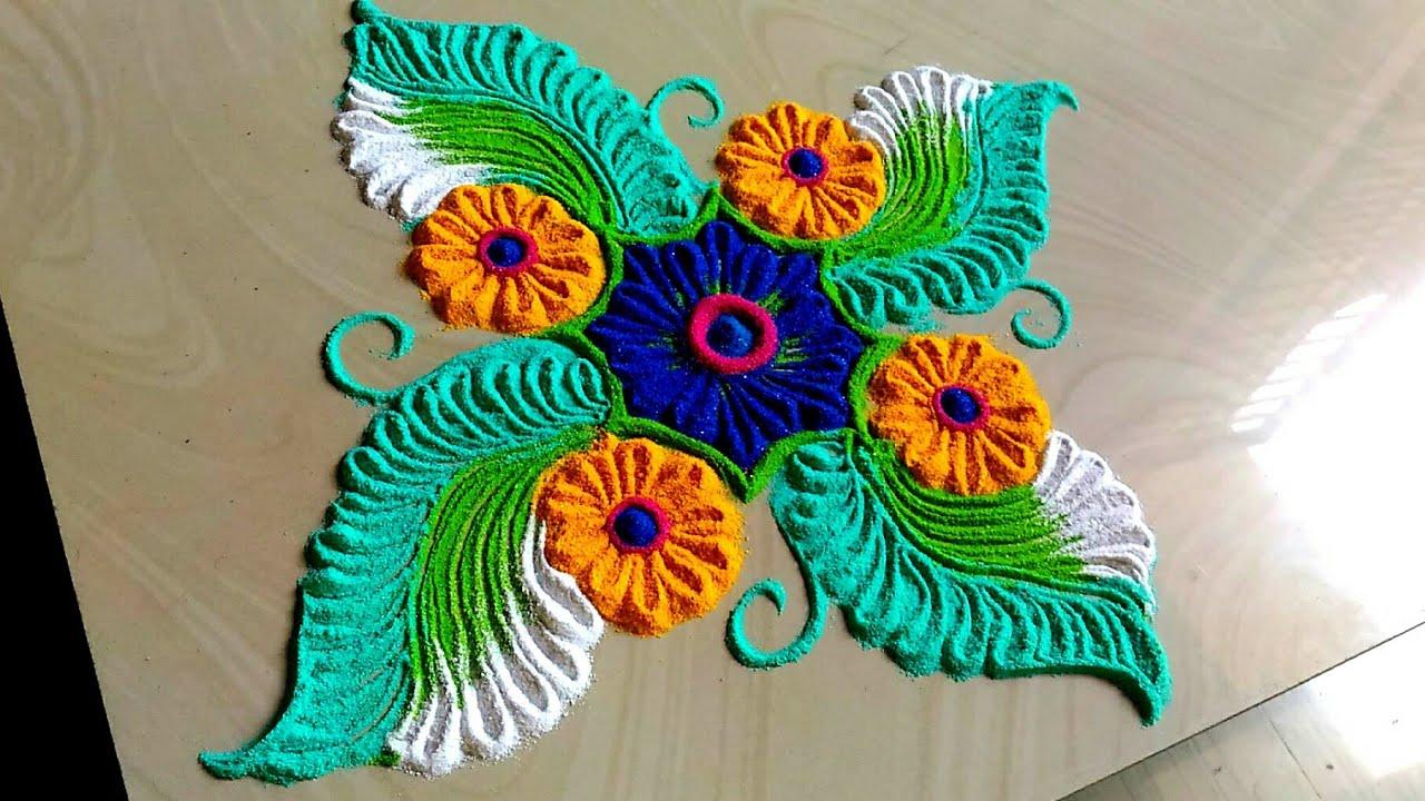 beautiful rangoli designs Navratri FESTIVAL'S/Diwali rangoli 2018 #1