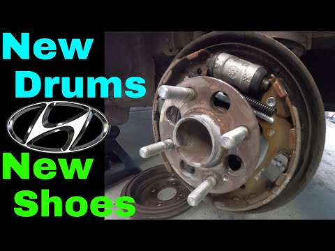 HOW TO REPLACE DRUM BRAKES  2014 Hyundai Accent gets a New set of Brake Drums & Shoes!