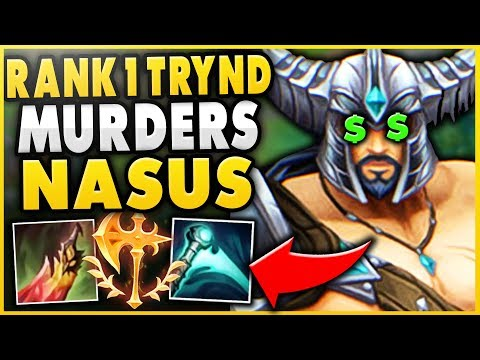#1 TRYNDAMERE WORLD DESTROYS CHALLENGER NASUS FT. HUGE DONATION!!$ - League of Legends thumbnail