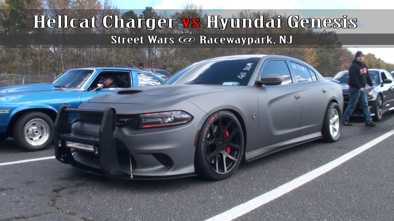 Charger Vs Challenger >> Hellcat Charger vs Hyundai Genesis - YouTube