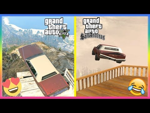 GTA 5 Vs GTA San Andreas - Jumping Off Mount Chiliad