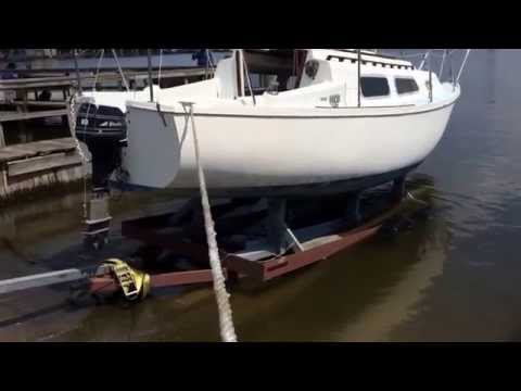 Sail boat launch at harbor hospital.