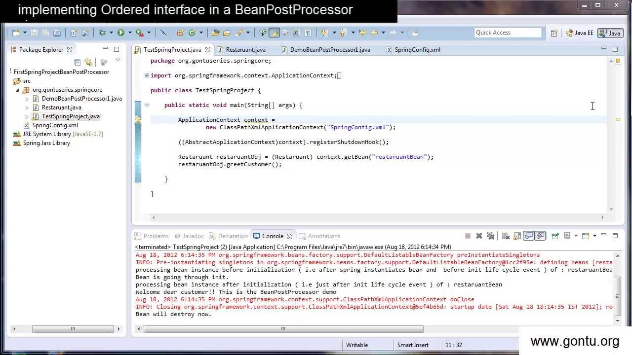 Spring tutorial 15 implementing an ordered interface in a spring tutorial 15 implementing an ordered interface in a beanpostprocessor class baditri Choice Image
