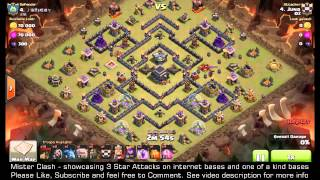 3 Star TH9 The Turtle, Max base, with GoLaLoon, clash of clans, clan war