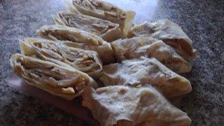 Закуска из лаваша.Рулет из лаваша с грибами и плавленым сыром.