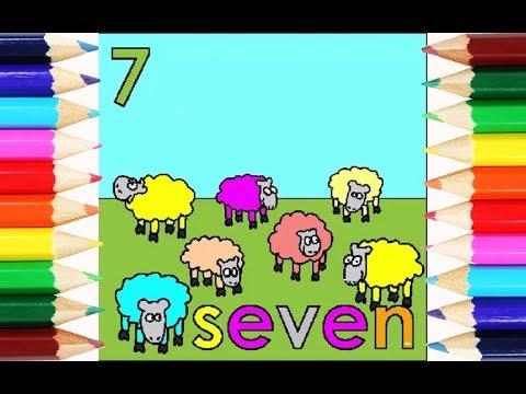 Belajar Mewarnai Angka 7 Dan 7 Hewan Kambing Shaun The Sheep