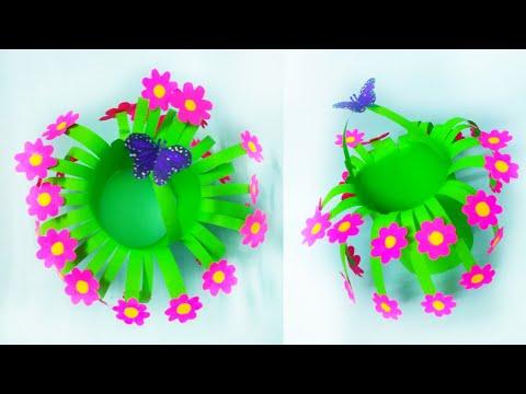 paper flower pot making | beautiful flower craft | creative craft | home decor ideas|kalakar supriya