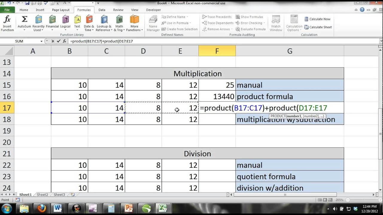 ms excel 2007 tutorial pdf with formulas