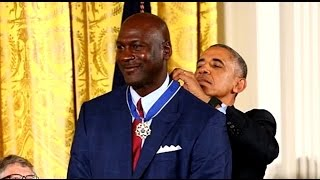 president barack obama presents michael jordan with medal of freedom clowns him for crying memes
