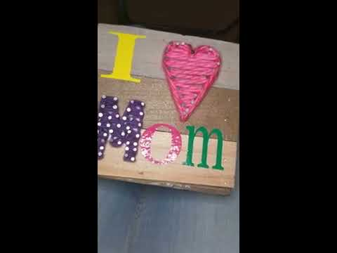 DIY Mother's Day Nail Wood Wall Art
