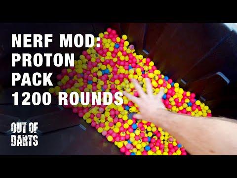 Nerf gun mod: Tactical Proton Pack (1150 rounds!)